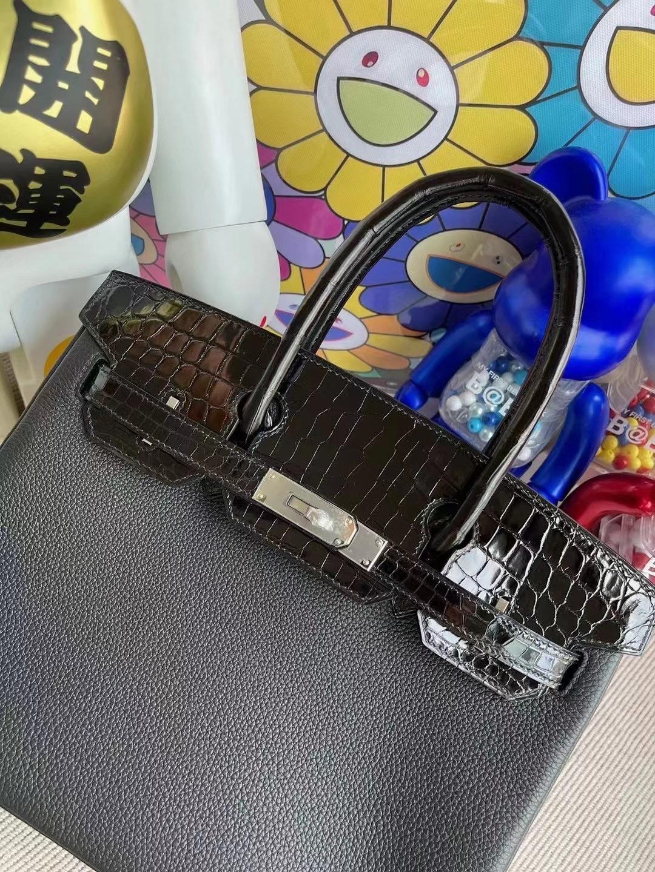 愛馬仕鉑金包鱷魚皮 Hermes Birkin 30 Touch 89 Noir 黑色 Togo 拼 尼羅鱷魚