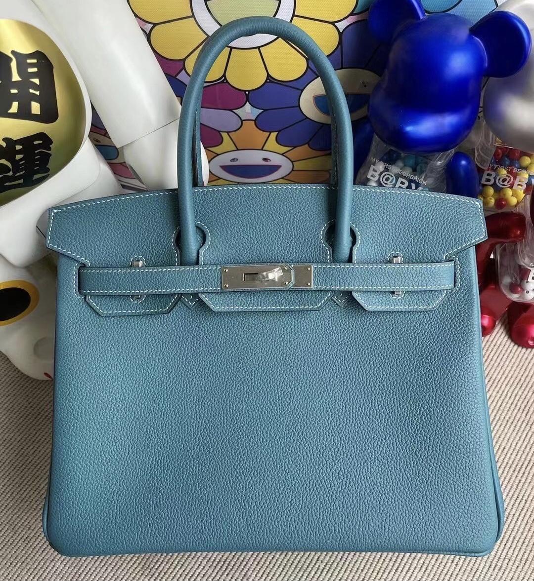 愛馬仕鉑金包 California USA Hermes Birkin 30 Togo 75 牛仔藍 Blue Jean 銀扣