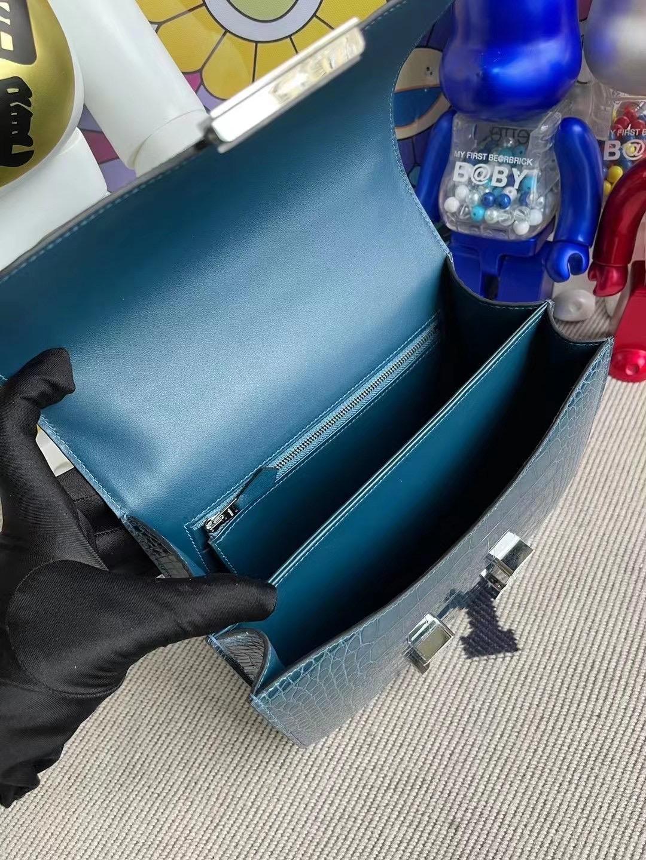USA Hermes Constance 24cm 亮面美洲鱷魚 1P Blue Colvert 鴨子藍 配 水晶鉆