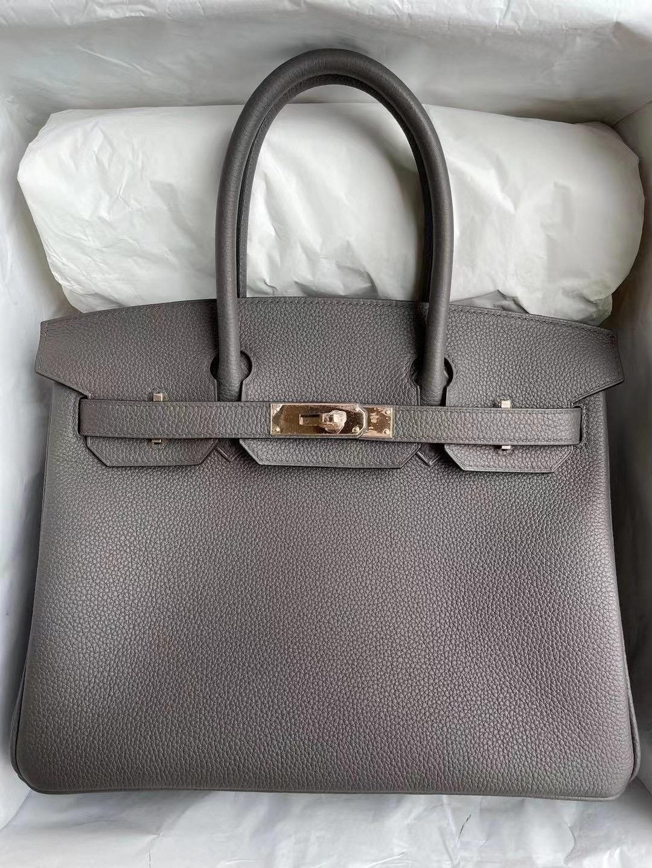 USA Hermes Birkin 30cm Togo 8F 錫器灰 Etain 玫瑰金扣 Rose gold clasp