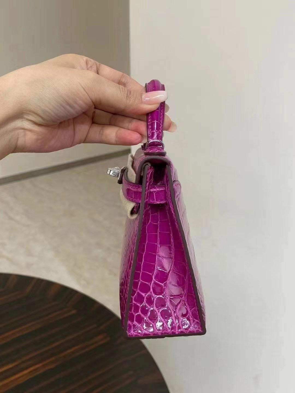 Boston USA Hermes Kelly mini II 2代 L3 Rose Poupre 玫瑰紫 亮面美洲鱷魚