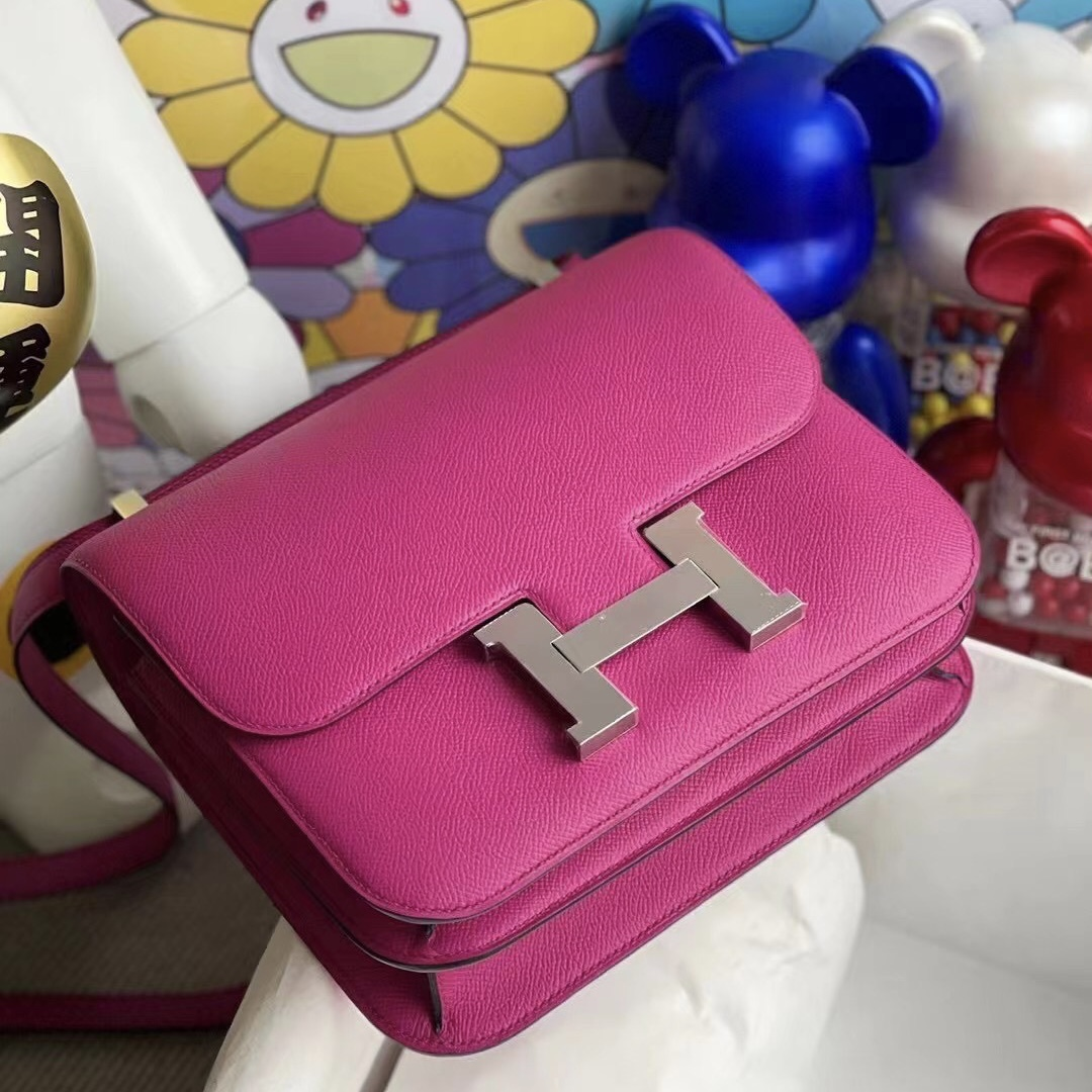 USA Hermes Constance 24cm Epsom L3 Rose Poupre 玫瑰紫 銀扣