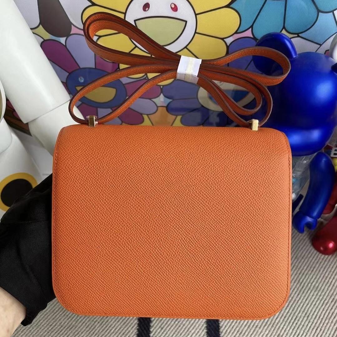 New York USA Hermes Constance 19cm Epsom 93 Orange 橙色 金扣