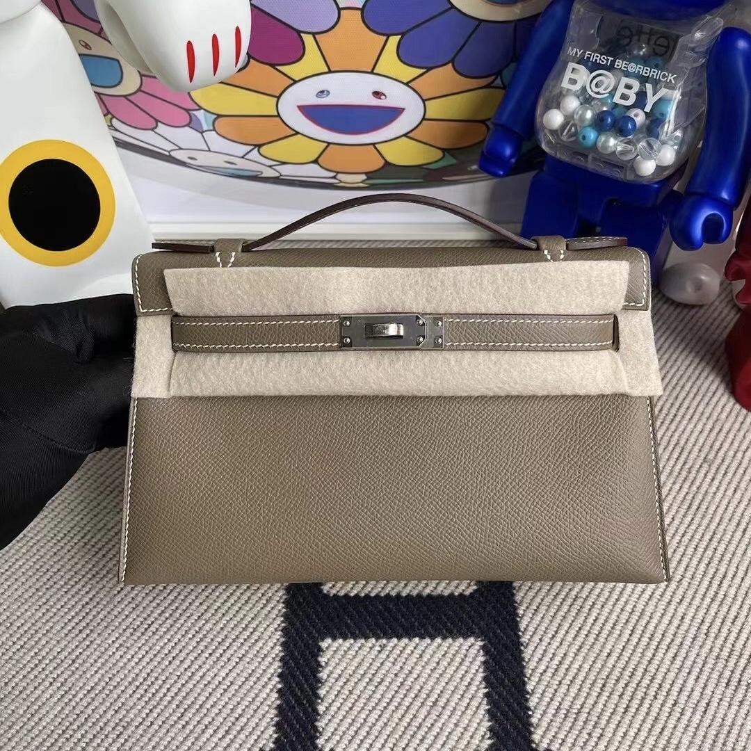 Saudi Arabia Hermes MiniKelly Pochette Epsom 89 Noir 18 大象灰 Etoupe