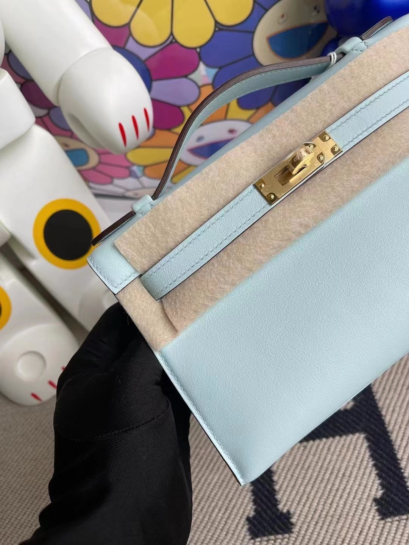 Kingdom of Saudi Arabia Hermes MiniKelly Pochette Swift T0 Blue Brume 霧藍色