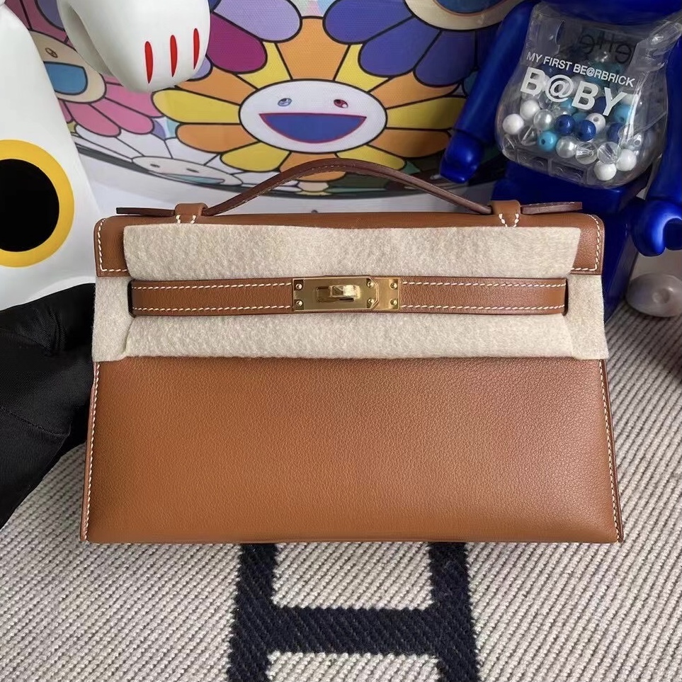 Kingdom of Saudi Arabia Hermes MiniKelly Pochette Swift 37 Gold 金棕色 金扣