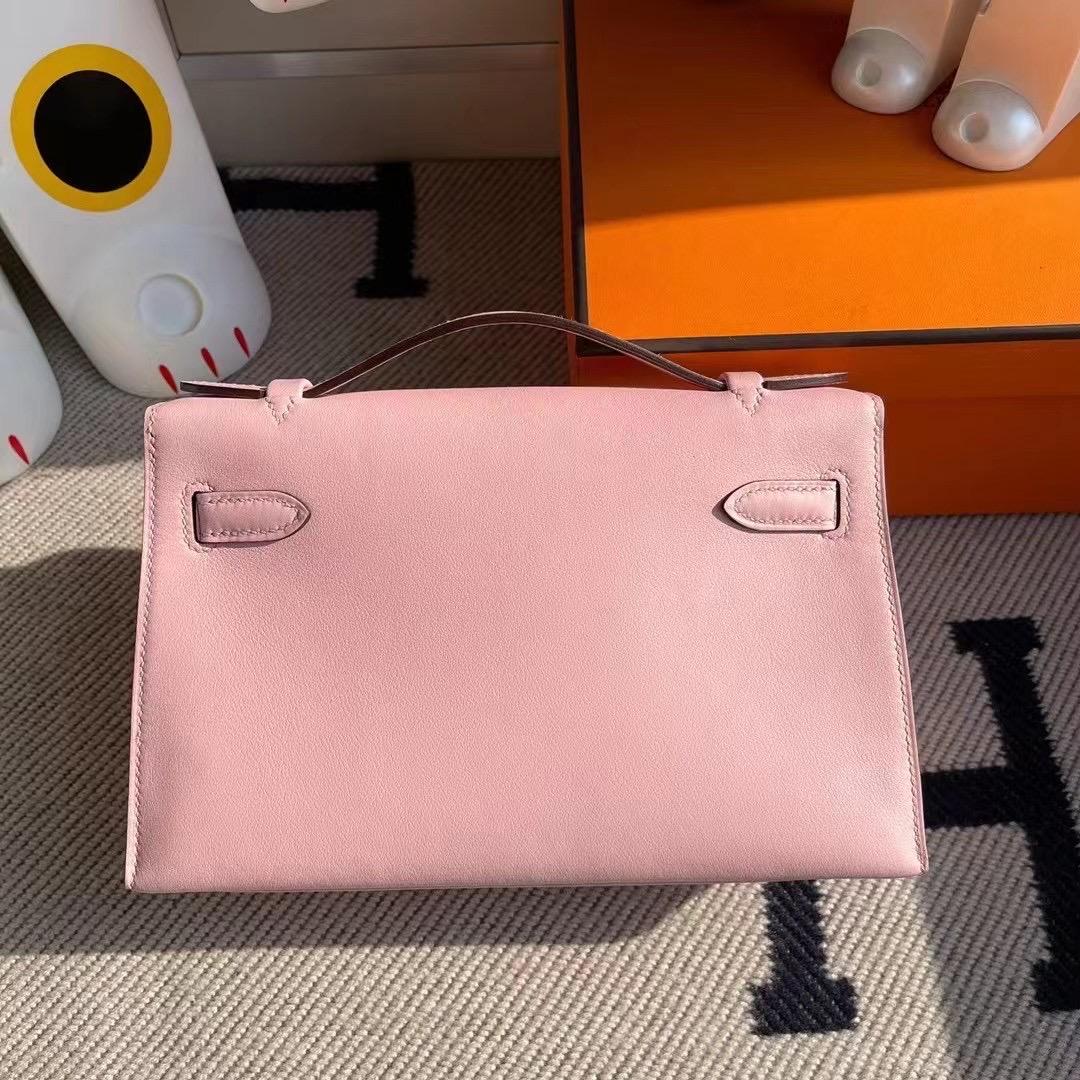 Saudi Arabia Hermes MiniKelly Pochette Swift 3Q Rose Sakura 櫻花粉 銀扣