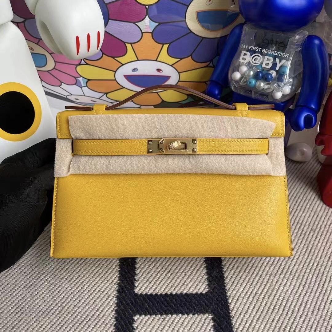 Bahrain Hermes MiniKelly Pochette Swift 9D Amber 琥珀黃 金扣