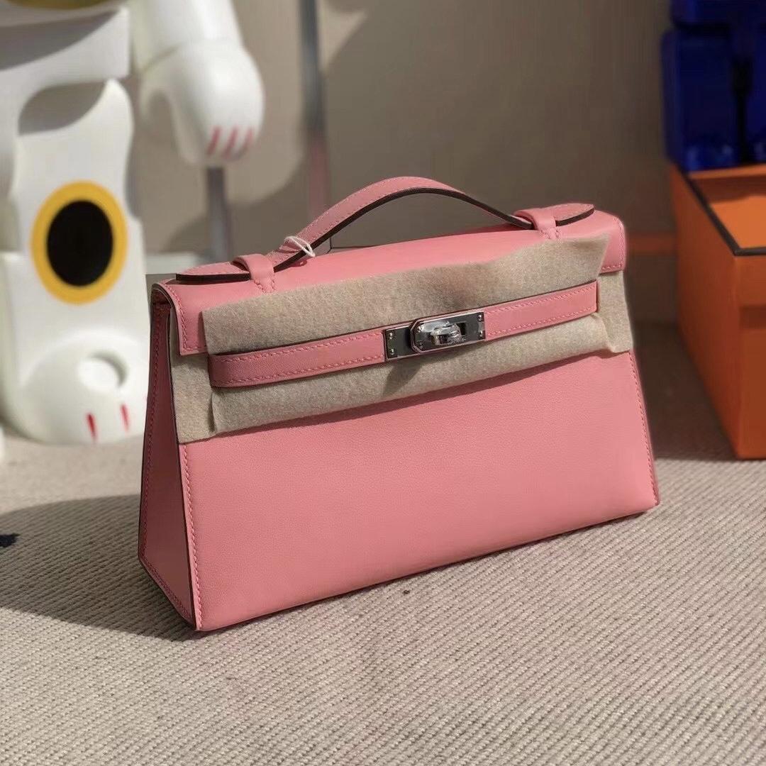 United Arab Emirates Hermes MiniKelly Pochette Swift K4 Rose Dete 夏日粉 銀扣