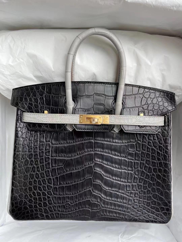 Hermes Birkin 25cm 89 Noir 黑色 80 Gris Perle 珍珠灰 霧面美洲鱷魚
