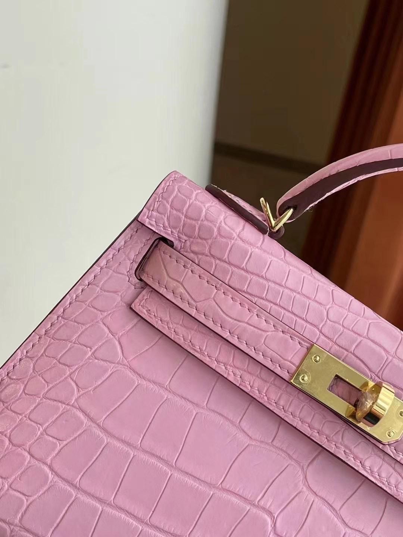 Saudi Arabia Hermes Kelly Mini II 2代 5P Pink 櫻花粉 Matte Alligator Crocodile 美洲鱷魚
