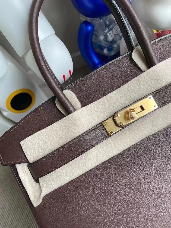 愛馬仕 Hermes Birkin 30cm Swift calfskin CK47 chocolate 金扣