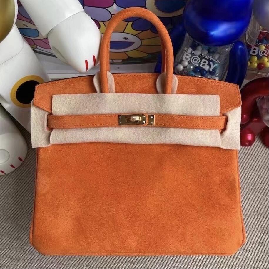 Los Angeles USA Hermes Birkin 25cm Doblis Suede 麂皮 93 Orange 橙色