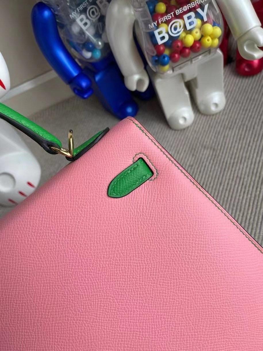 USA Hermes Kelly 25 HSS Epsom 1Q Rose Confetti 拼 1K bambou 竹子綠 金扣