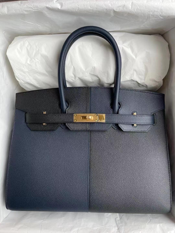 USA Hermes Birkin 30 外縫 Epsom 三拼色89 Noir 2Z Blue Nuit 拼B3 Blue Zanzibar