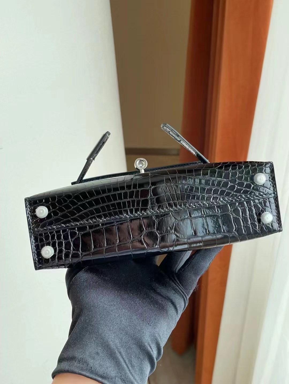 美國紐約愛馬仕 New York USA Hermes Kelly mini II 89 Noir 黑色美洲鱷魚