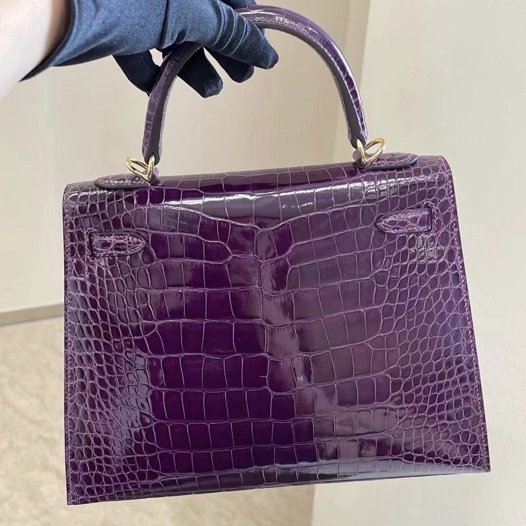 美國西雅圖愛馬仕 Seattle USA Hermes Kelly 25cm 9G 水晶紫 Améthyste美洲鱷魚