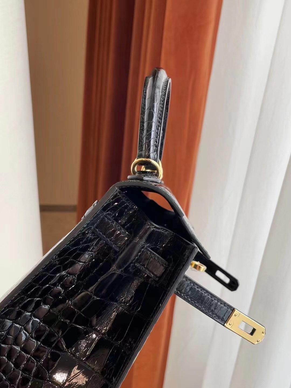 美國波士頓愛馬仕 Boston USA Hermes Kelly 25cm 89 Noir 黑色 亮面美洲鱷魚