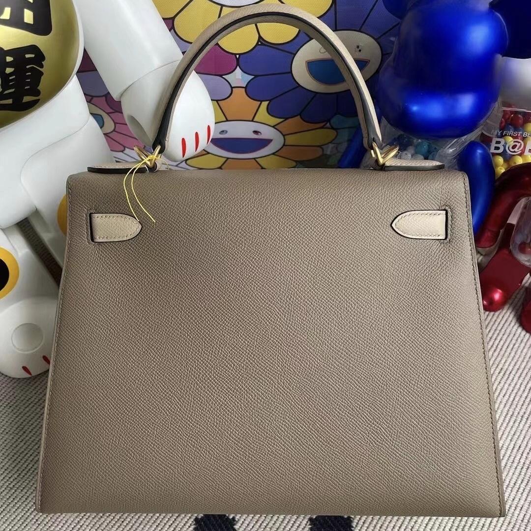 USA Hermes Kelly 28cm HSS Epsom 18 Etoupe 大象灰 /S2 風衣灰 Trench 磨砂金扣
