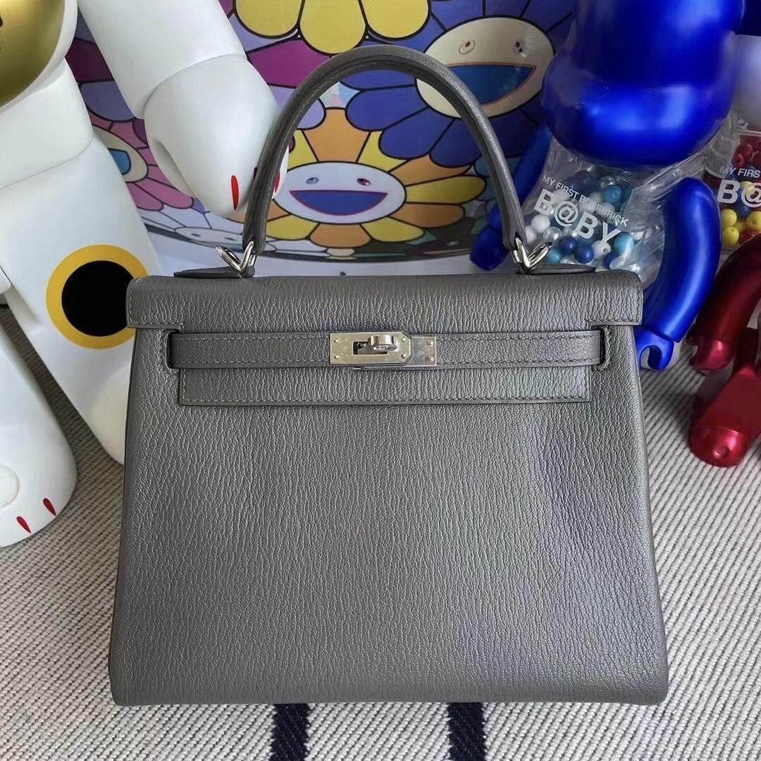 San Francisco USA Hermes Kelly 25cm Chevre 山羊皮 8F 錫器灰 Etain 銀扣