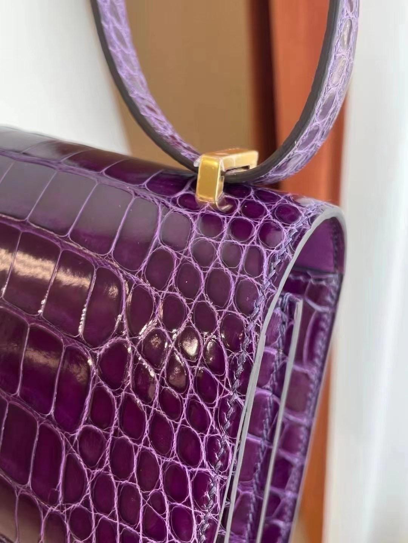 Saudi Arabia Riyadh Hermes Constance 19 N5 Cassis 加侖紫 Alligator Crocodile