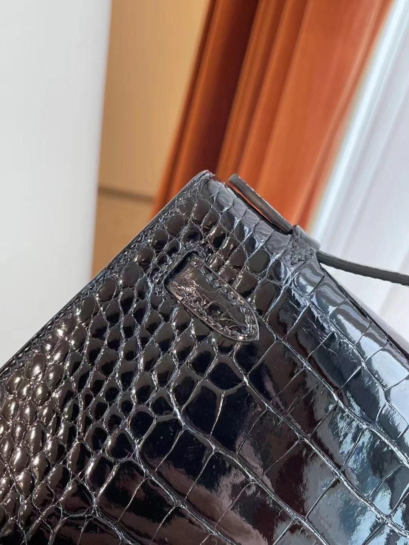 Saudi Arabia Riyadh Hermes MiniKelly Pochette 美洲鱷魚 89 Noir 黑色
