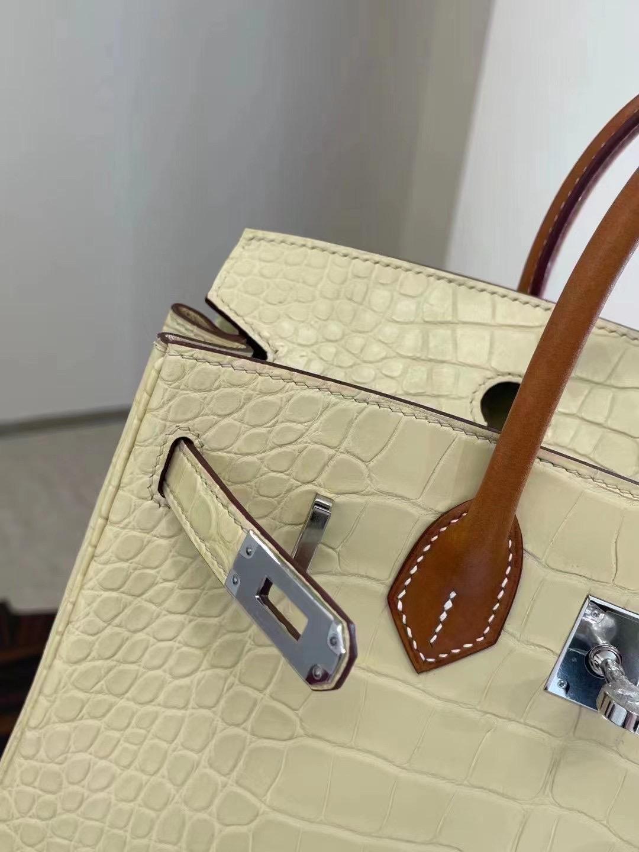 UAE Dubai Hermes Birkin 25 Matte Alligator Y1 香草色 Vanille 配手腕 Barenia Natural